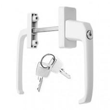 Ручка оконная двухсторонняя, алюминиевая, 4-х позиционная, с замком, белая, 2 ключа